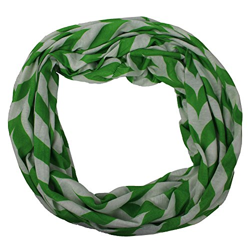 Pop Fashion Womens Green Infinity Scarf, Zipper Scarf, Chevron Scarf, Fashion Scarf ()