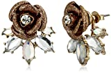 Betsey Johnson Luminous Betsey Glitter Rose and Faceted Stone Earrings Jackets