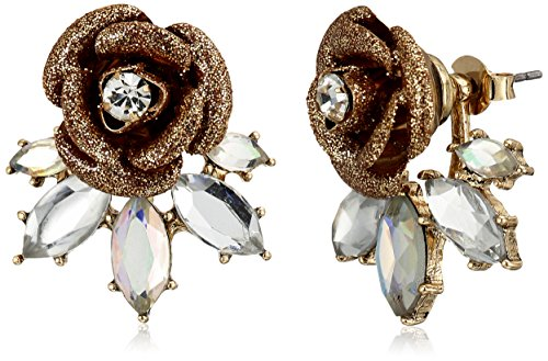 """Betsey Johnson """"Luminous Betsey"""" Glitter Rose and Faceted Stone Earrings Jackets"""