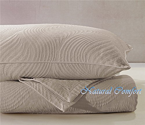 (Natural Comfort Matelasse Blanket Coverlet, Dune Pattern, Queen, Washed Taupe)