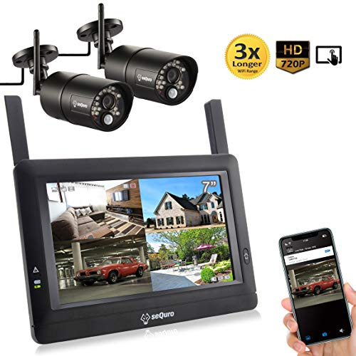 Sequro GuardPro DIY Long Range Wireless Video Surveillance System 7' Touchscreen Monitor 2 Outdoor/Indoor Night Vision IP66 Weatherproof HD Network DVR Home Security IP Cameras Smartphone Access