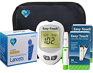 Easy Touch Diabetes Testing Kit - Easy Touch Meter, Easy Touch Blood Glucose Test Strips, OWell Lancets 30g, Lancing Device and Easy Touch Control Solution