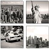 Visario 6605 Nueva York - Fotografía sobre lienzo (4 x 30 x 30 cm, 4 partes)