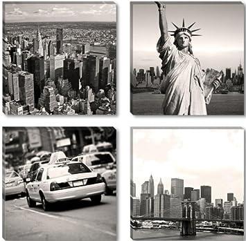 Amazon.de: Visario Leinwandbilder 6605 Bild auf Leinwand New York ...