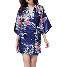 YACUN Women's Kimono Robes Satin Peacock and Blossoms Silk Nightwear Short Style