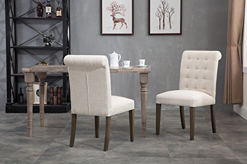 Merax Fabric Dining Chairs Padded Side Chair with Solid Wood