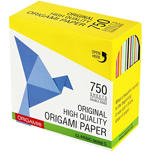 Premium Origami Paper: 25 Vivid Colors - 750 Double Sided Sheets - Square 6 Inch - 70 gsm - in a Special Tray - for Best Arts and Crafts Projects