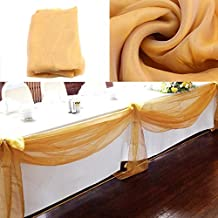 vLoveLife 33ft Gold Sheer Organza Top Table Swag Fabric Table Runner Chair Sash Wedding Car Party Stair Bow Valance Decorations