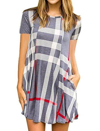 Halife Women's Plaid Print Swing Tunic Mini Dress Short Sleeve T Shirt Dress w/Pockets (XL, Grey) Tartan Print