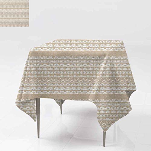 Tablecloth for Kids/Childrens,Tan and White,Lace Style Antique Border Motifs Collection Vintage and Feminine Ornament,for Events Party Restaurant Dining Table Cover,70x70 Inch Tan White (Collection Antique Lace)