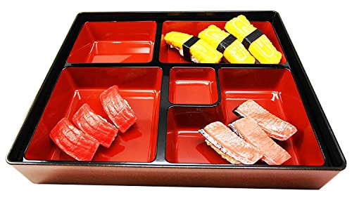 Japanese Gold Colored 5 Compartments Two Piece Bento Box Lacquered Plastic Serving or Display Platter Tray 11.75