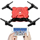 Leoie FPV Camera RC Quadcopter Drone with Live Video - Flexible Foldable Aerofoils App and Wifi Phone Control UAV 6-Axis Gyro Gravity Sensor RTF Helicopter Toys for Boys Red
