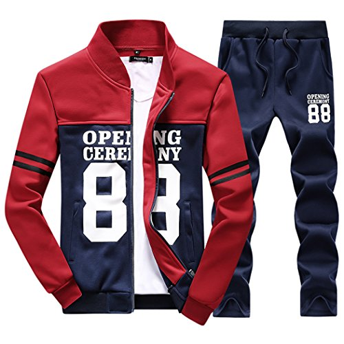 M-LORD (TM) Men's Zipper Long Sleeve Jogging Baseball Slim Fit Casual Tracksuit Red/Blue XL