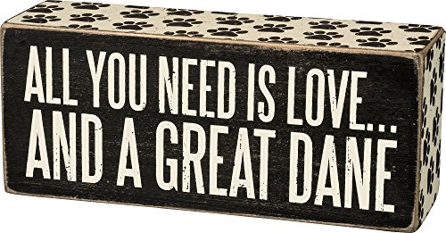 All You Need Is Love... And A ... Mini Wood Box Sign - Black & White for wall hanging, table or desk 6-in x 2-in (Great Dane)