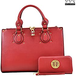 MMK Collection Fashion Pad-lock Satchel handbags with wallet~Designer Purse for Women ~Multi Pocket ~ Perfect Women Purse and wallet~ Beautiful Designer Handbag Set (01-8808B(02-168)-Red)