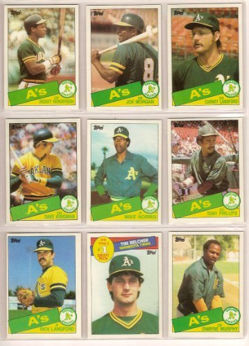 - Oakland Athletics 1985 Topps Baseball Master Team Set with Year-End Traded Cards (Rickey Henderson) (Joe Morgan) (Mike Davis) (Dave Kingman) (Mike Heath) (Chris Codiroli) (Tim Conroy) (Jim Essian) (Tony Phillips) (Carney Lansford) (Rick Langford) (Curt Young) (Tim Belcher Rookie) (Mike Norris) (Dwayne Murphy) (Steve McCatty) (Dave Lopes)
