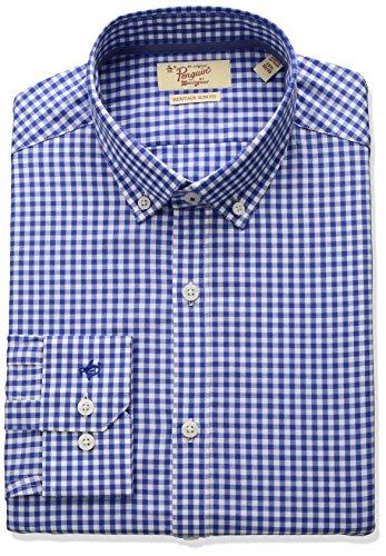 Original Penguin Men's Slim Fit Button Down Collar Performance Gingham Dress Shirt, Blue, 16.5