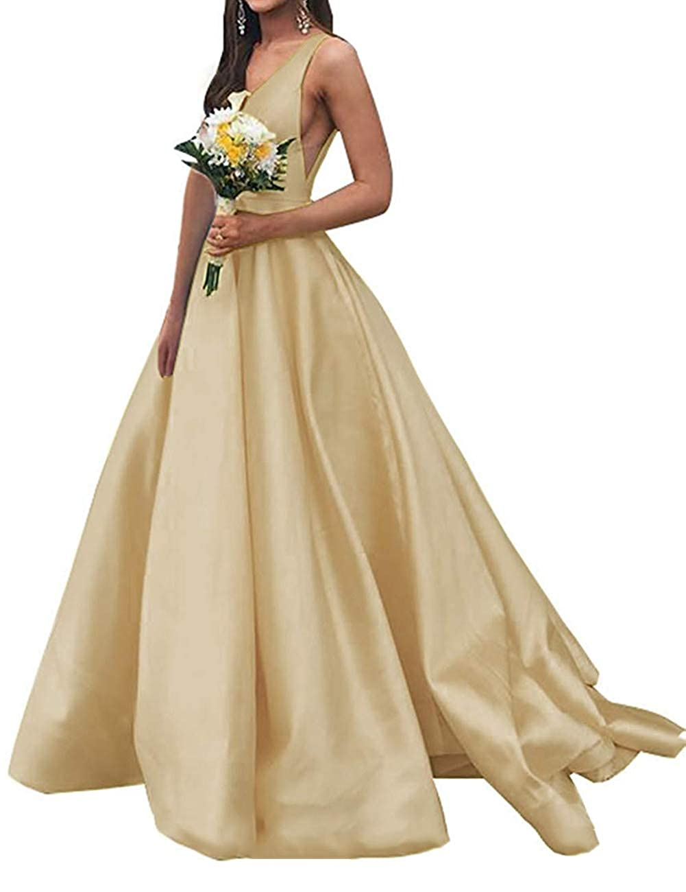 Champagne JAEDEN Prom Dresses Formal Evening Gowns Long Evening Dresses V Neck Satin Prom Gowns Sleeveless