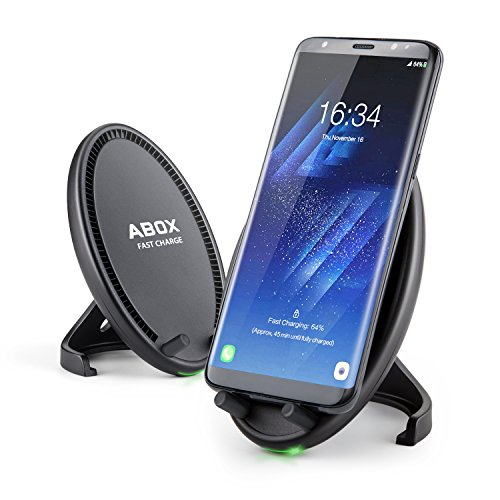 Wireless Charger, ABOX Fast Wireless Charging Pad Stand with Cooling Fan for Samsung Galaxy S8/S8+/S7/S7 edge/S6 edge+/Note 5, Standard Charge for iPhone X/8/8 Plus(No AC Adapter)