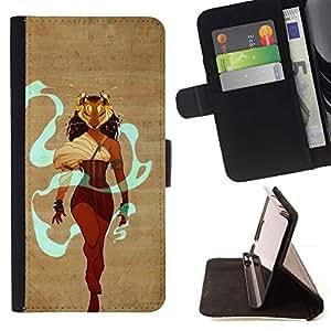 Momo Phone Case / Flip Funda de Cuero Case Cover - Warrior Queen Heroína Maks León Mujer - Samsung Galaxy S6