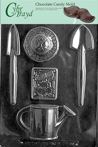 Cybrtrayd Life of the Party F099 Gradening Shovel Straw Hat Seeds Watering Can Chocolate Candy Mold in Sealed Protective Poly Bag Imprinted with Copyrighted Cybrtrayd Molding Instructions