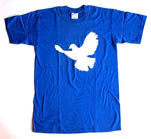 T-Shirt FRIEDENSTAUBE Baumwolle royalblau Siebdruck Original 1990er Jahre erhältlich in den Größen S und M Gegen Krieg