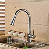 Chrome Pull Out LED Kitchen Sink Faucet Single Handle Deck Mount Mixer Water Taps