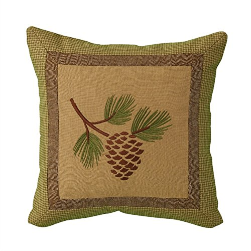 Park Designs 16 Inches x 16 Cotton Patchwork Lodge Pineview Down Feather Fill Pillow Set from Park Designs