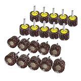 "Fokus 20-Pack 1""x1"" x1/4"" Sanding Grinding Aluminum Oxide Shank Mounted Flap Wheels for Rotary Tools Mandrel (120#)"