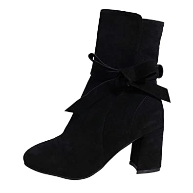 2d3b8aaf7ba9 Longra Women Ankle Winter Autumn Casual High Heel Bow Zipper Western Side  Zipper Pointed Toe Booties