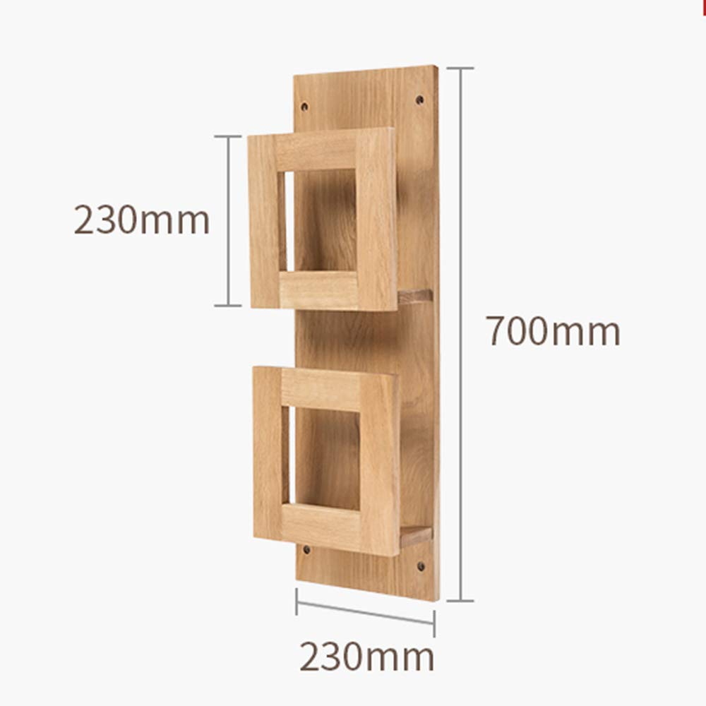Log 7023cm HUO Solid Wood Wall Rack Storage Rack Picture Book Frame Wall Magazine Newspaper Rack-(Log, Walnut) Bookcases (color   Walnut, Size   110  23cm)