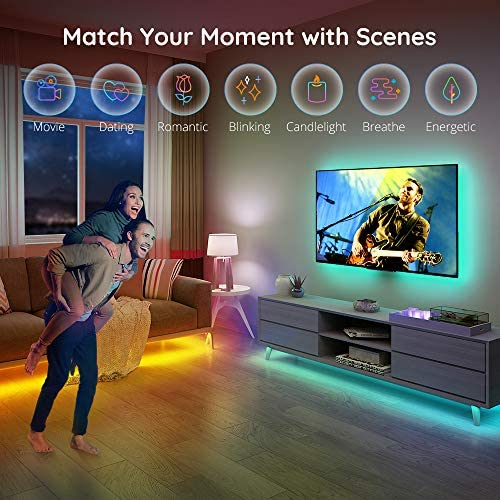 Govee RGB LED Strip Lights, Works with Alexa, Google Assistant, App Control for Room, 16.4 Feet