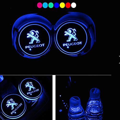 (Lntly LED Car Logo Cup Holder Pad Waterproof Bottle Drinks Coaster Built-in Light 7 Colors Changing USB Charging Mat LED Cup Mat Car Atmosphere Lamp 2PCS (Peugeo t))