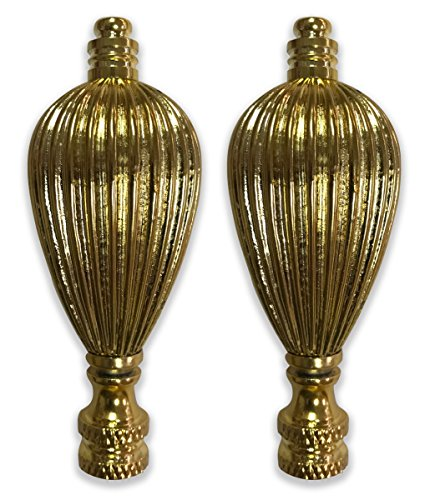 (Royal Designs Vase Shaped Lamp Finial for Lamp Shade- Polished Brass Set of 2)