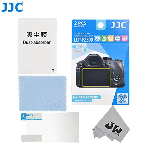 JW LCP-FZ300 2PCS Low Reflection Anti-smudge High Transmission Perfect Cutting LCD Guard Film Display Screen Protector For PANASONIC Lumix DMC-FZ300+JW Cleaning Cloth