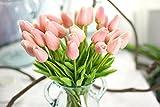 COOBL Artificial silk flower High grade decorative tulip flower wedding bouquet bride holding garlands vine DIY Floral art plant bride Home Decor(20pcs) (Girl Pink)