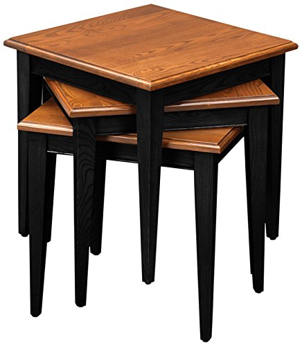 - Leick Stacking Table Set, Black and Medium Oak