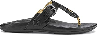 OluKai Women's Lanakila Black/Black Leather 5 Medium