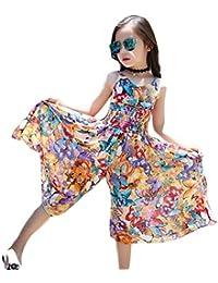 Little Girl's Summer Cute Floral Sleeveless Straps Jumpsuit Beach Boho Dress
