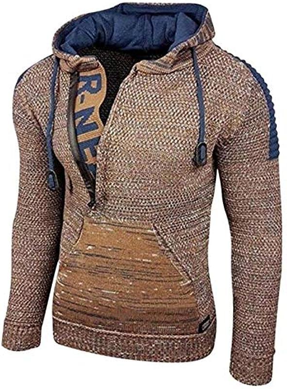Sweater Men Autumn Winter Hooded Pullovers Vintage Warm Fashion Rope Casual Slim,Brown2,XXXL: Odzież