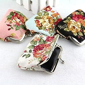 Misaky Women Lady Retro Vintage Flower Small Wallet Hasp Purse Clutch Bag (Black)