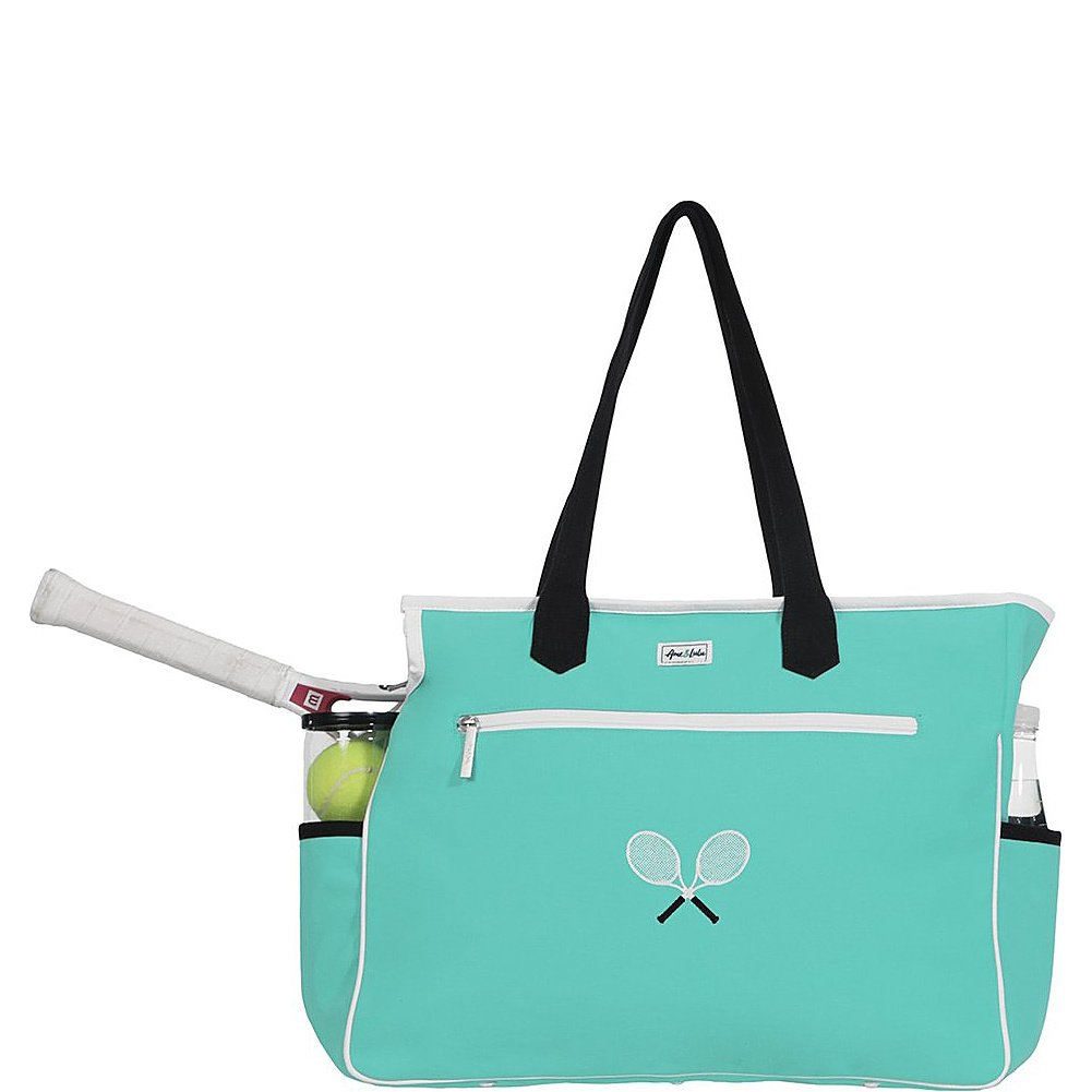 Ame & Lulu Kensington Crossed Racquet Court Bag (Aqua/Black)