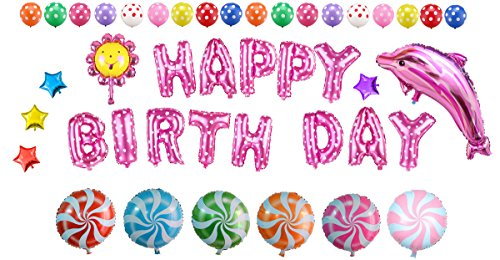 Cute Pink Birthday Party Balloons Set(43 Pieces)- HAPPY BIRTHDAY Letters Balloons and Birthday Celebration Balloons Supplies - 35 Piece Sticker Set