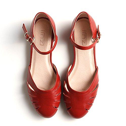 Singole colore Testa Slittata Fondo Rosso Piatto Bassi Dimensioni Scarpe Tacchi Cavo Donna sandali uk4 Rotonda Qidi Giallo Eu36 w7qPUEn