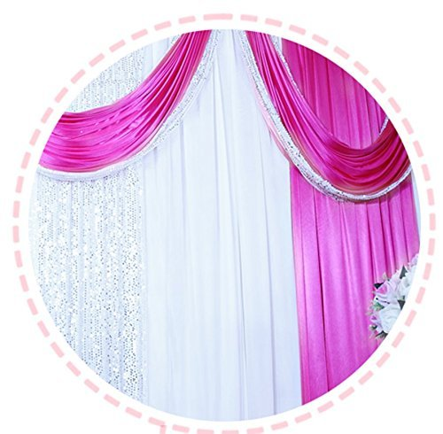 Wedding Stage Decorations Backdrop Party Drapes with Swag Silk Fabric Curtain (Rose Red) by Eyestar