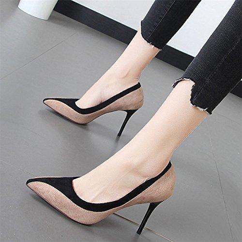 Xue Qiqi Tipp buchstabiere Farbe Schuhe mit hohen Absätzen mit der Flut der feinen Art und Weise Yan singles Schuhe der Frauen leuchtet