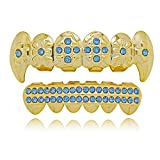 Lureen 14k Gold Customized Blue Stones Grills Set Iced Out 2 Rows Bar CZ Teeth