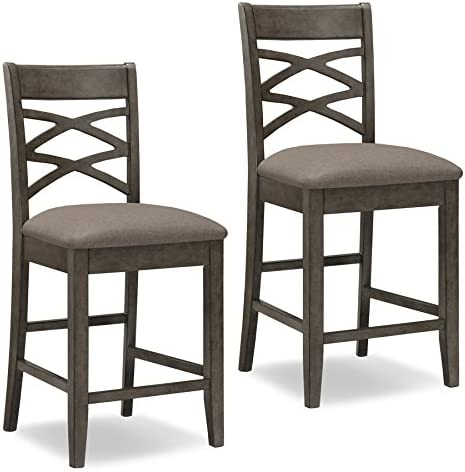 Leick Furniture Double Cross Counter Height Bar Stool Set of 2 , Grey