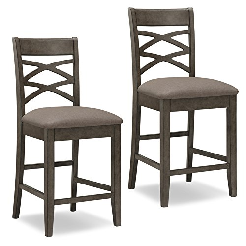Leick Furniture 10084GS/MH Double Cross Counter Height Bar Stool (Set of 2), Grey