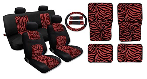 (Unique Imports 17 Piece Premium Fur Print on Black Mesh Zebra Accent Stripes - Comfy Mesh - Front Pair Bench Steering Wheel Set Plus Red Zebra 4pc Floor Mats (Black and Red Zebra Print))